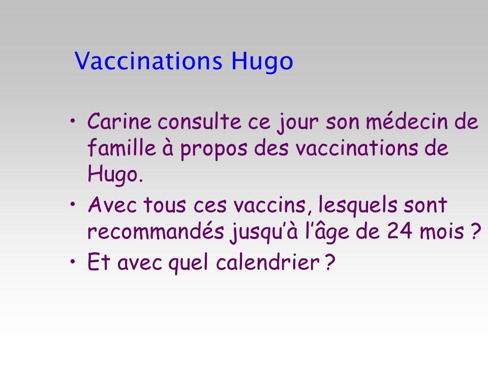 Vaccinations Hugo Carine consulte ce jour son médecin de famille à propos des vaccinations de Hugo. Avec tous ces vaccins, lesquels sont recommandés j
