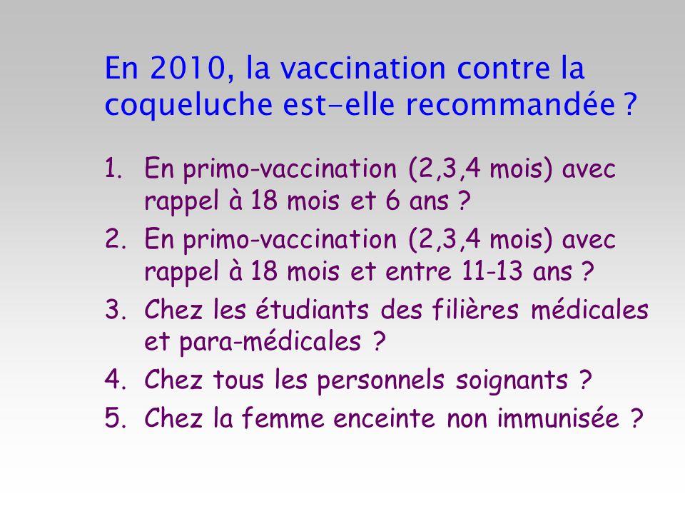 En 2010, la vaccination contre la coqueluche est-elle recommandée ? 1.En primo-vaccination (2,3,4 mois) avec rappel à 18 mois et 6 ans ? 2.En primo-va