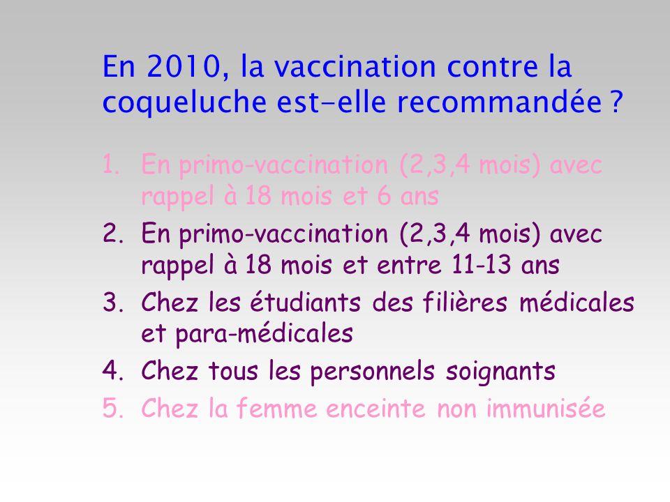 En 2010, la vaccination contre la coqueluche est-elle recommandée ? 1.En primo-vaccination (2,3,4 mois) avec rappel à 18 mois et 6 ans 2.En primo-vacc