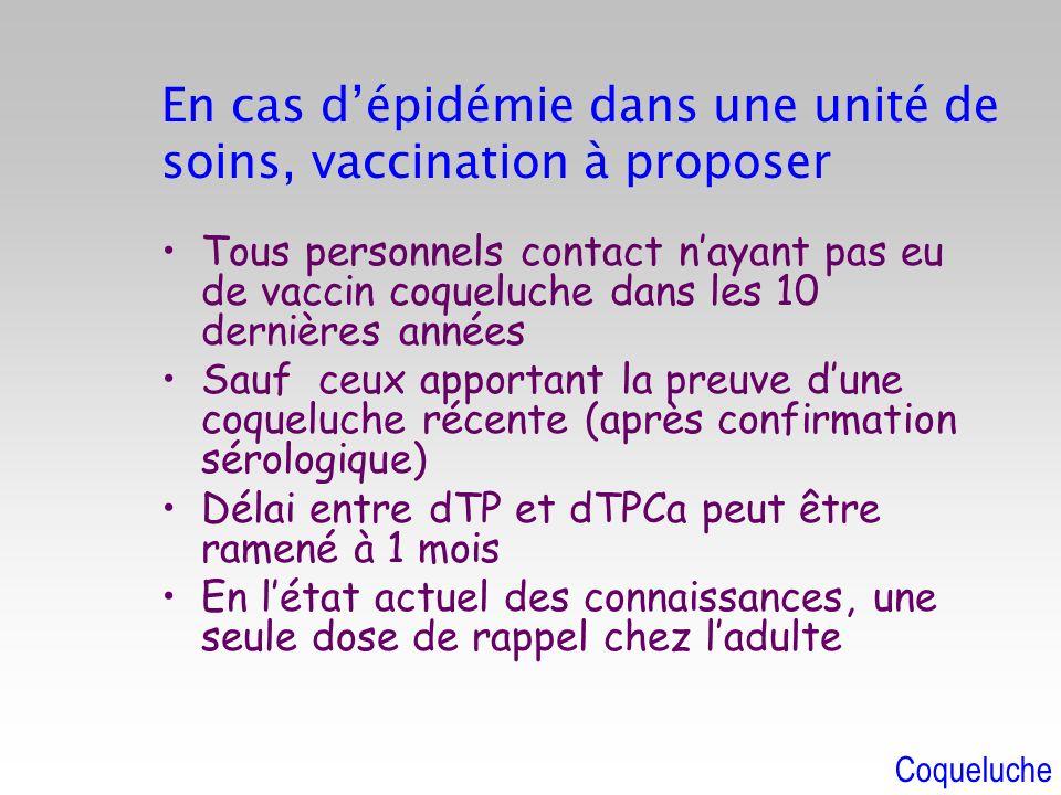 En cas dépidémie dans une unité de soins, vaccination à proposer Tous personnels contact nayant pas eu de vaccin coqueluche dans les 10 dernières anné