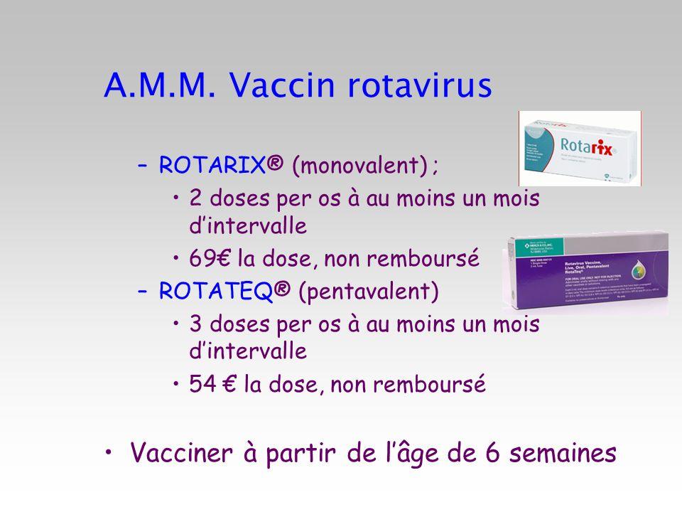 A.M.M. Vaccin rotavirus –ROTARIX® (monovalent) ; 2 doses per os à au moins un mois dintervalle 69 la dose, non remboursé –ROTATEQ® (pentavalent) 3 dos