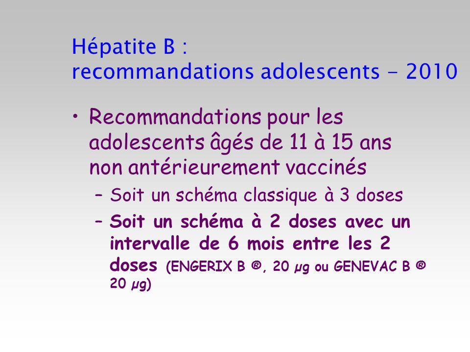 Hépatite B : recommandations adolescents - 2010 Recommandations pour les adolescents âgés de 11 à 15 ans non antérieurement vaccinés –Soit un schéma c