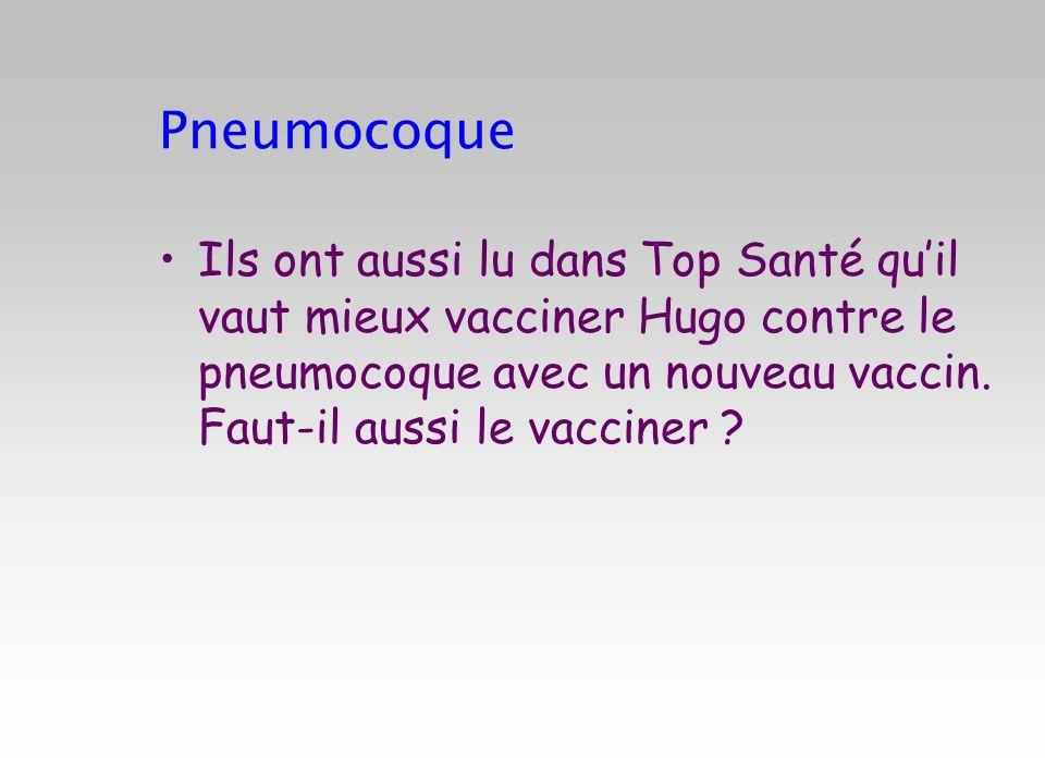 Pneumocoque Ils ont aussi lu dans Top Santé quil vaut mieux vacciner Hugo contre le pneumocoque avec un nouveau vaccin. Faut-il aussi le vacciner ?
