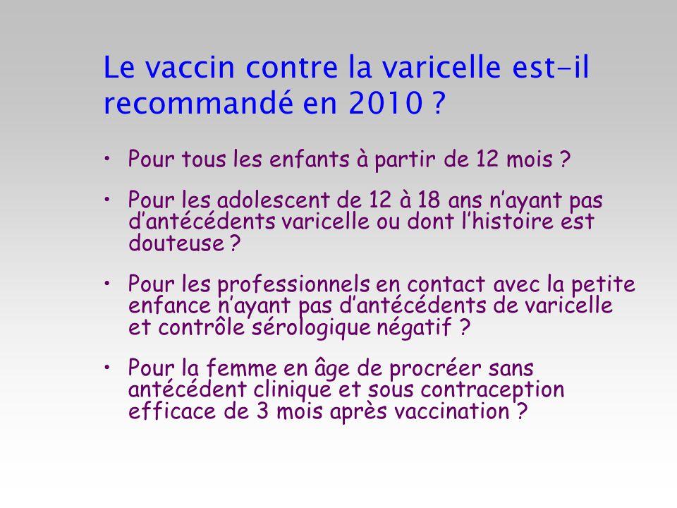 Le vaccin contre la varicelle est-il recommandé en 2010 ? Pour tous les enfants à partir de 12 mois ? Pour les adolescent de 12 à 18 ans nayant pas da