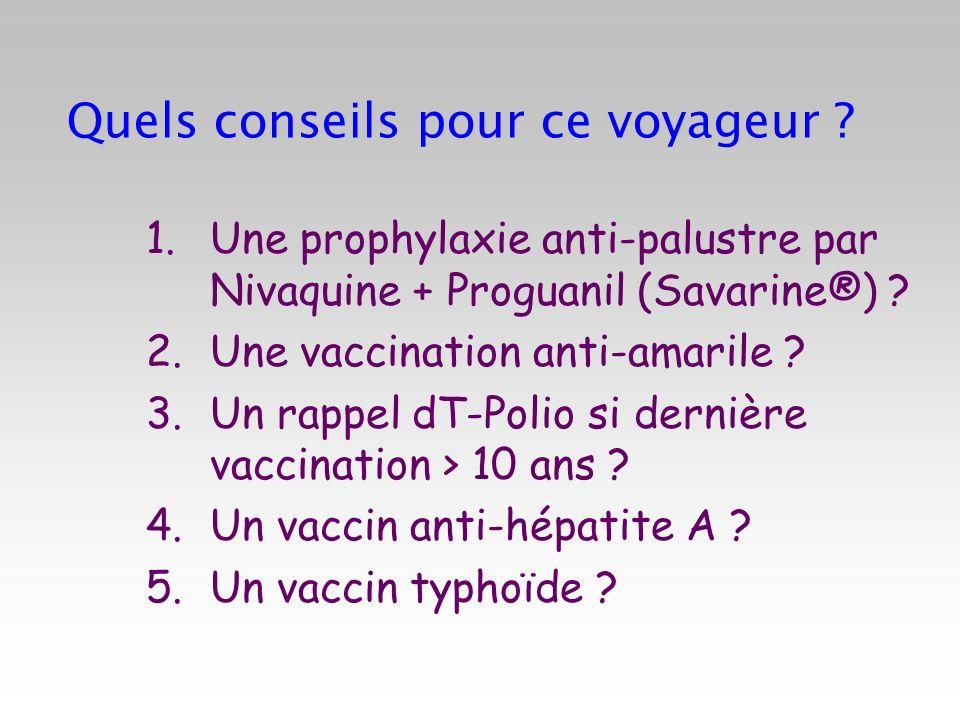 Quels conseils pour ce voyageur ? 1.Une prophylaxie anti-palustre par Nivaquine + Proguanil (Savarine®) ? 2.Une vaccination anti-amarile ? 3.Un rappel