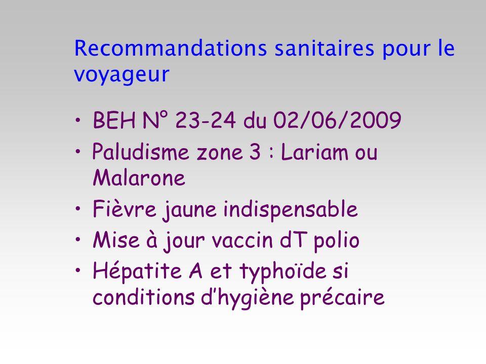 Recommandations sanitaires pour le voyageur BEH N° 23-24 du 02/06/2009 Paludisme zone 3 : Lariam ou Malarone Fièvre jaune indispensable Mise à jour va