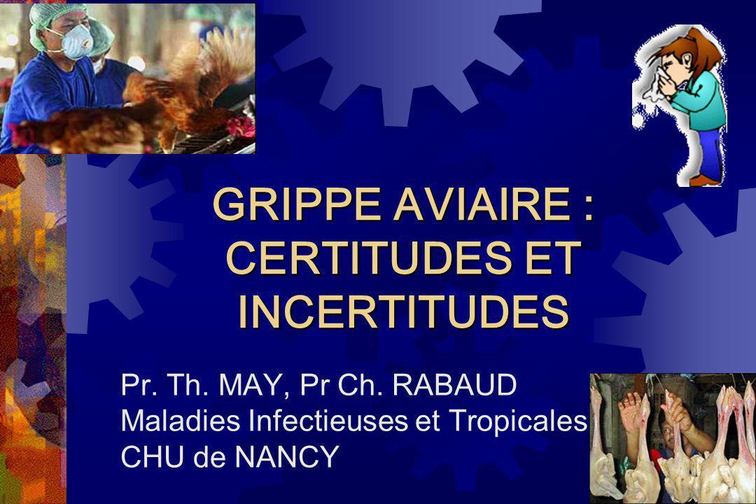 GRIPPE AVIAIRE : CERTITUDES ET INCERTITUDES Pr. Th. MAY, Pr Ch. RABAUD Maladies Infectieuses et Tropicales CHU de NANCY