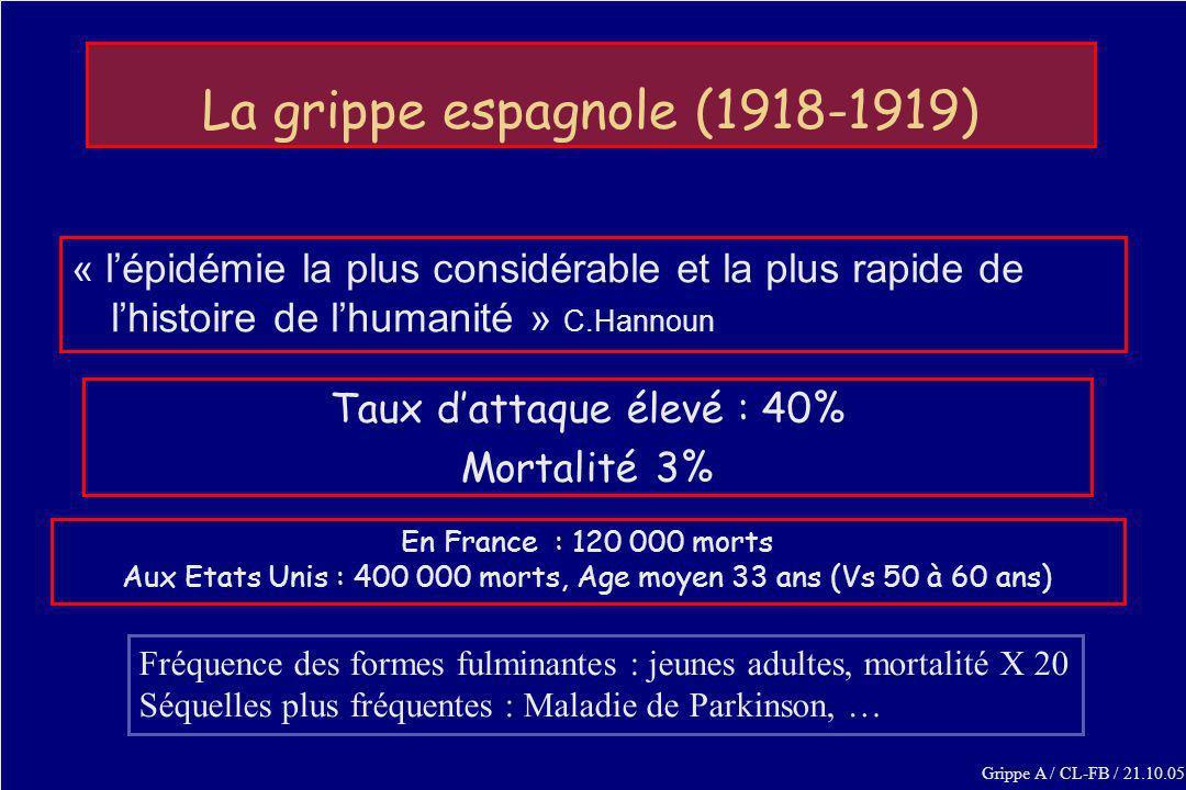 La grippe espagnole (1918-1919) « lépidémie la plus considérable et la plus rapide de lhistoire de lhumanité » C.Hannoun En France : 120 000 morts Aux