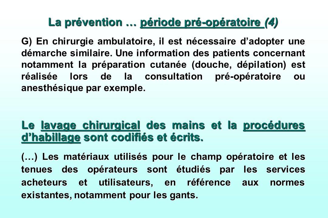 La prévention … période pré-opératoire (4) G) En chirurgie ambulatoire, il est nécessaire dadopter une démarche similaire. Une information des patient