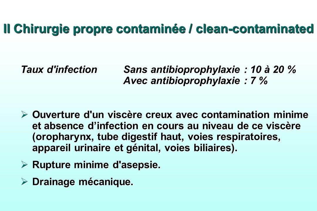 II Chirurgie propre contaminée / clean-contaminated Taux d'infectionSans antibioprophylaxie : 10 à 20 % Avec antibioprophylaxie : 7 % Ouverture d'un v