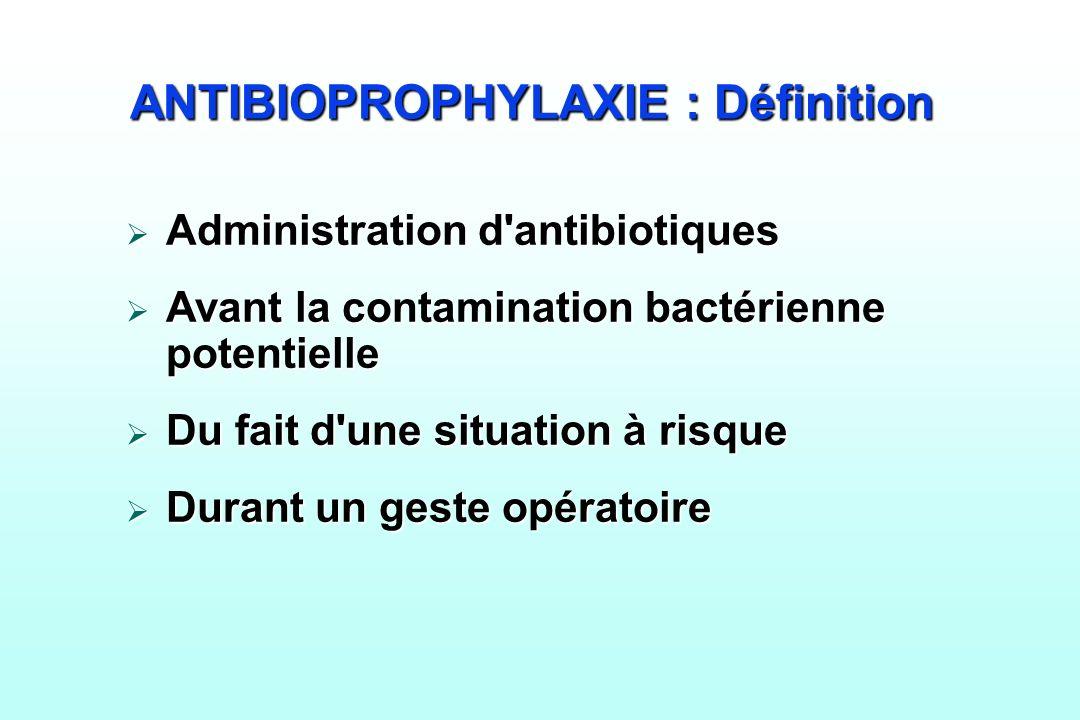 ANTIBIOPROPHYLAXIE : Définition Administration d'antibiotiques Administration d'antibiotiques Avant la contamination bactérienne potentielle Avant la