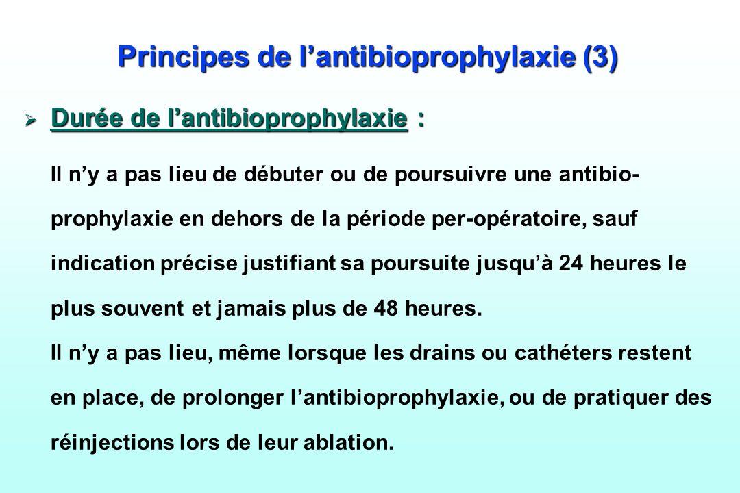 Principes de lantibioprophylaxie (3) Durée de lantibioprophylaxie : Durée de lantibioprophylaxie : Il ny a pas lieu de débuter ou de poursuivre une an