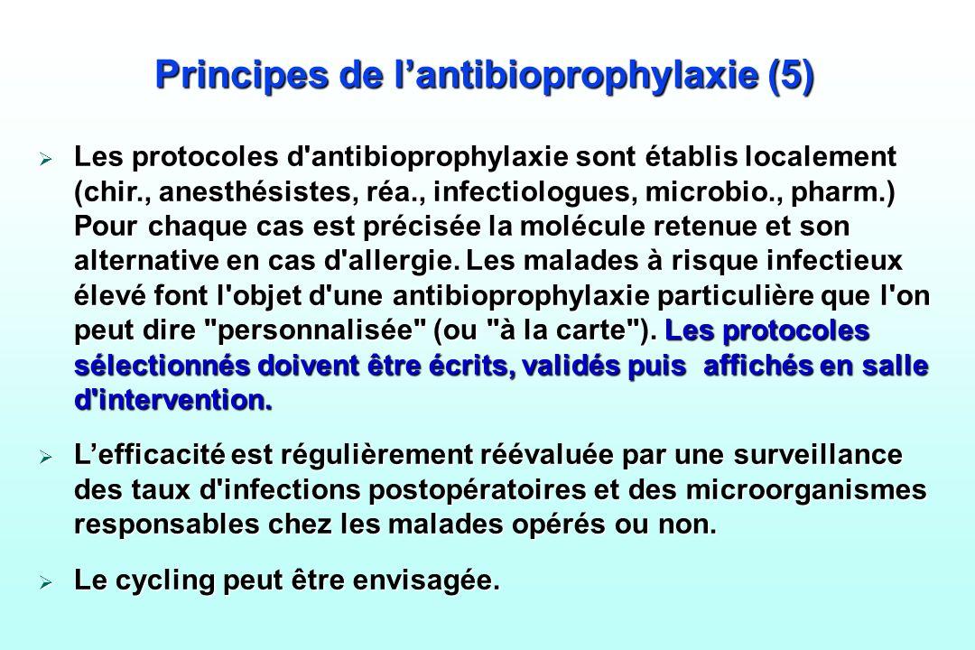 Principes de lantibioprophylaxie (5) Les protocoles d'antibioprophylaxie sont établis localement (chir., anesthésistes, réa., infectiologues, microbio