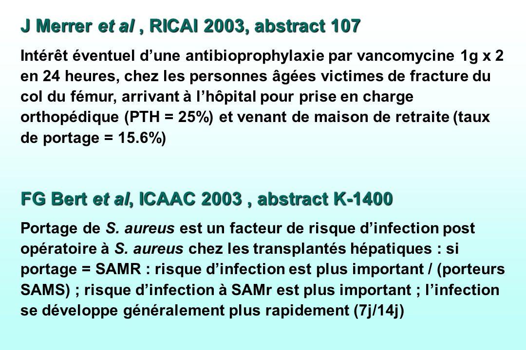 J Merrer et al, RICAI 2003, abstract 107 Intérêt éventuel dune antibioprophylaxie par vancomycine 1g x 2 en 24 heures, chez les personnes âgées victim