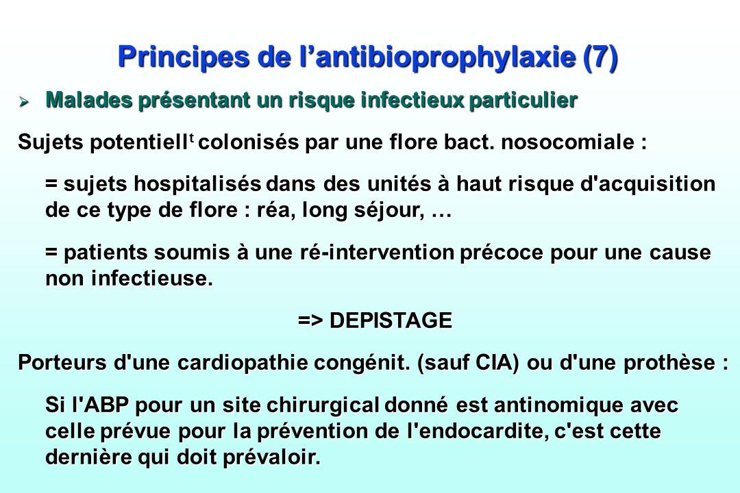 Principes de lantibioprophylaxie (7) Malades présentant un risque infectieux particulier Malades présentant un risque infectieux particulier Sujets po