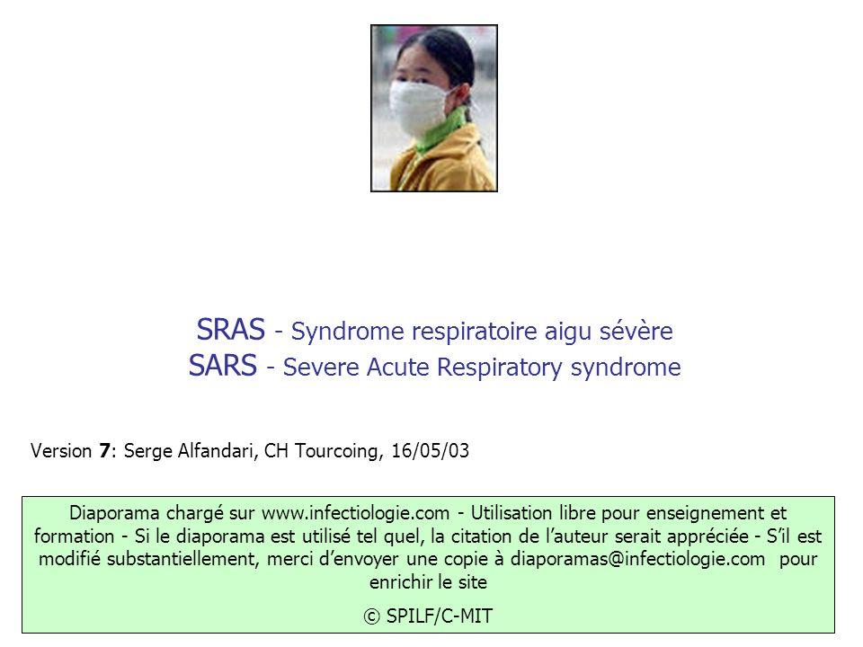 SRAS - Syndrome respiratoire aigu sévère SARS - Severe Acute Respiratory syndrome Version 7: Serge Alfandari, CH Tourcoing, 16/05/03 Diaporama chargé