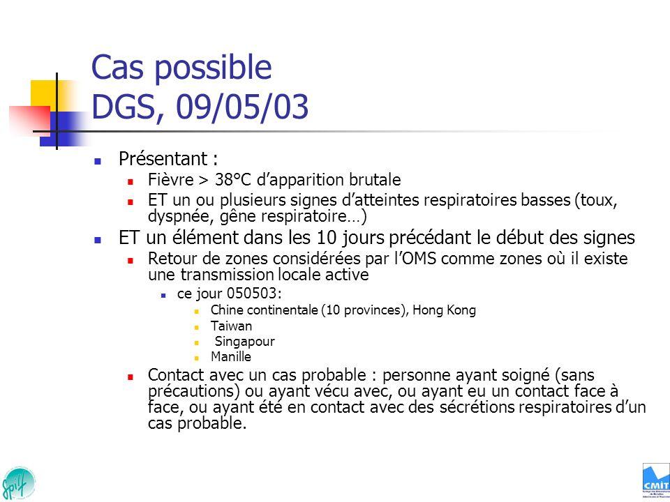 Cas possible DGS, 09/05/03 Présentant : Fièvre > 38°C dapparition brutale ET un ou plusieurs signes datteintes respiratoires basses (toux, dyspnée, gê
