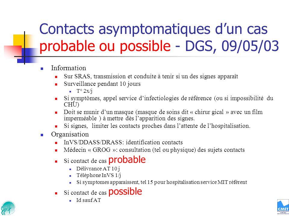 Contacts asymptomatiques dun cas probable ou possible - DGS, 09/05/03 Information Sur SRAS, transmission et conduite à tenir si un des signes apparaît