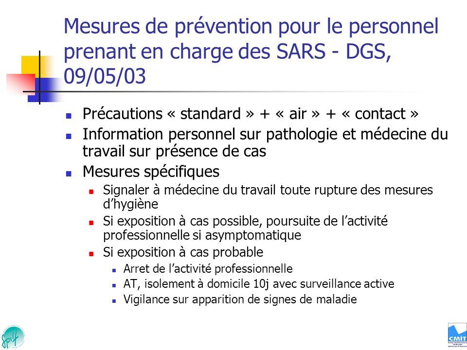 Mesures de prévention pour le personnel prenant en charge des SARS - DGS, 09/05/03 Précautions « standard » + « air » + « contact » Information person