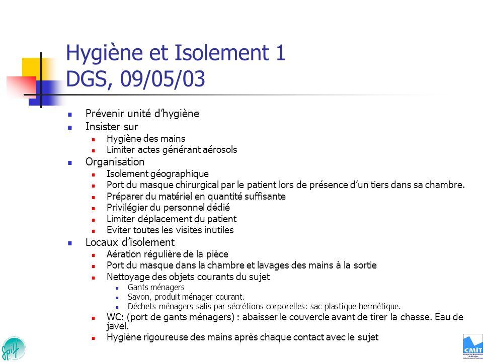 Hygiène et Isolement 1 DGS, 09/05/03 Prévenir unité dhygiène Insister sur Hygiène des mains Limiter actes générant aérosols Organisation Isolement géo