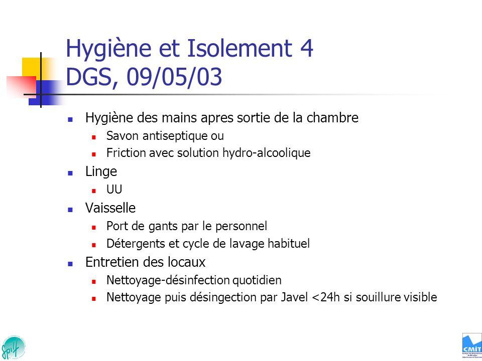 Hygiène et Isolement 4 DGS, 09/05/03 Hygiène des mains apres sortie de la chambre Savon antiseptique ou Friction avec solution hydro-alcoolique Linge