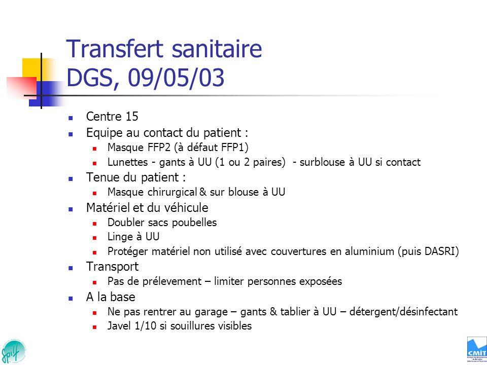 Transfert sanitaire DGS, 09/05/03 Centre 15 Equipe au contact du patient : Masque FFP2 (à défaut FFP1) Lunettes - gants à UU (1 ou 2 paires) - surblou