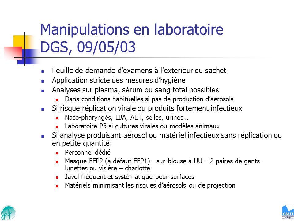 Manipulations en laboratoire DGS, 09/05/03 Feuille de demande dexamens à lexterieur du sachet Application stricte des mesures dhygiène Analyses sur pl