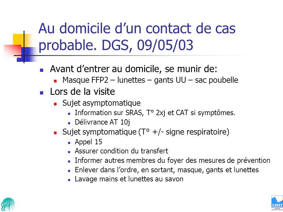 Au domicile dun contact de cas probable. DGS, 09/05/03 Avant dentrer au domicile, se munir de: Masque FFP2 – lunettes – gants UU – sac poubelle Lors d