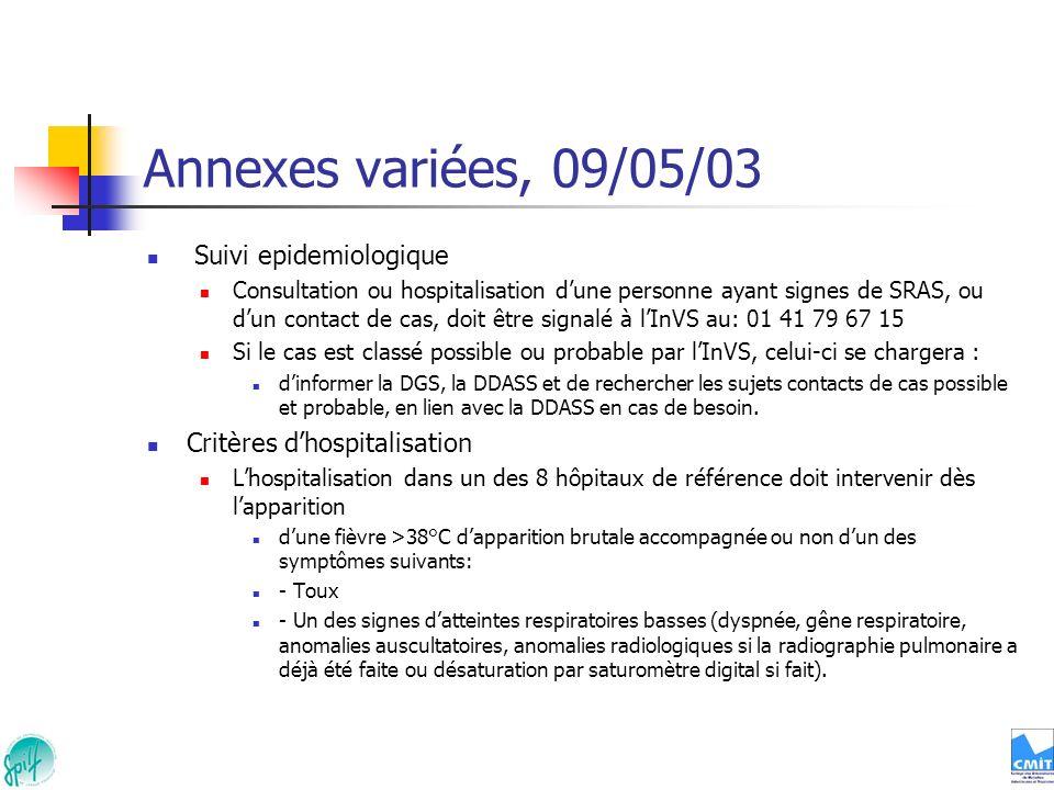 Annexes variées, 09/05/03 Suivi epidemiologique Consultation ou hospitalisation dune personne ayant signes de SRAS, ou dun contact de cas, doit être s