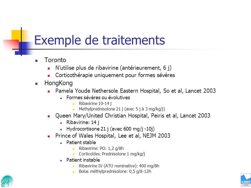 Exemple de traitements Toronto Nutilise plus de ribavirine (antérieurement, 6 j) Corticothérapie uniquement pour formes sévères HongKong Pamela Youde