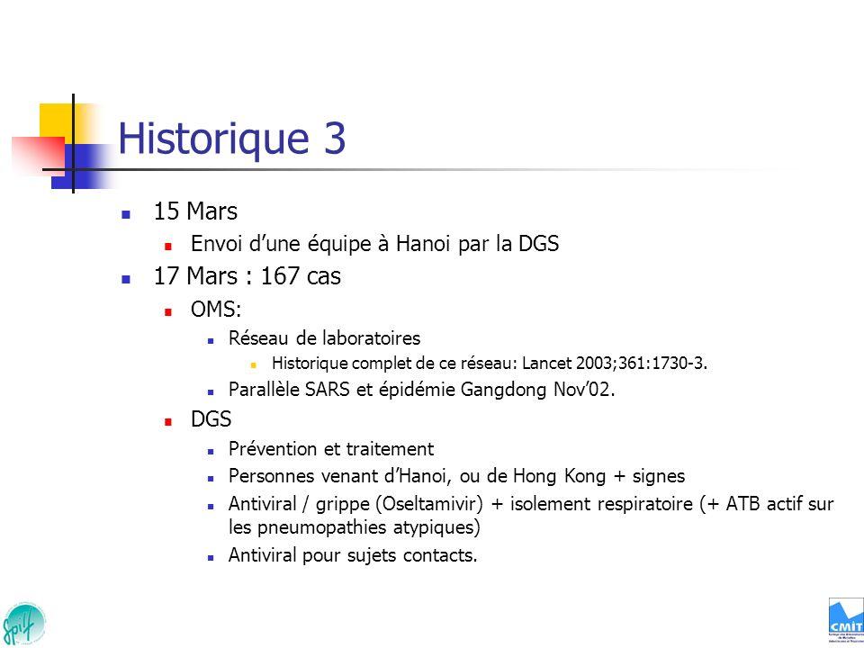 Historique 3 15 Mars Envoi dune équipe à Hanoi par la DGS 17 Mars : 167 cas OMS: Réseau de laboratoires Historique complet de ce réseau: Lancet 2003;3