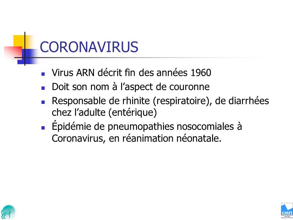 CORONAVIRUS Virus ARN décrit fin des années 1960 Doit son nom à laspect de couronne Responsable de rhinite (respiratoire), de diarrhées chez ladulte (