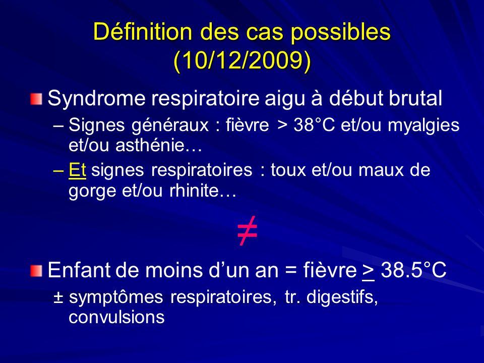 Définition des cas possibles (10/12/2009) Syndrome respiratoire aigu à début brutal –Signes généraux : fièvre > 38°C et/ou myalgies et/ou asthénie… –E