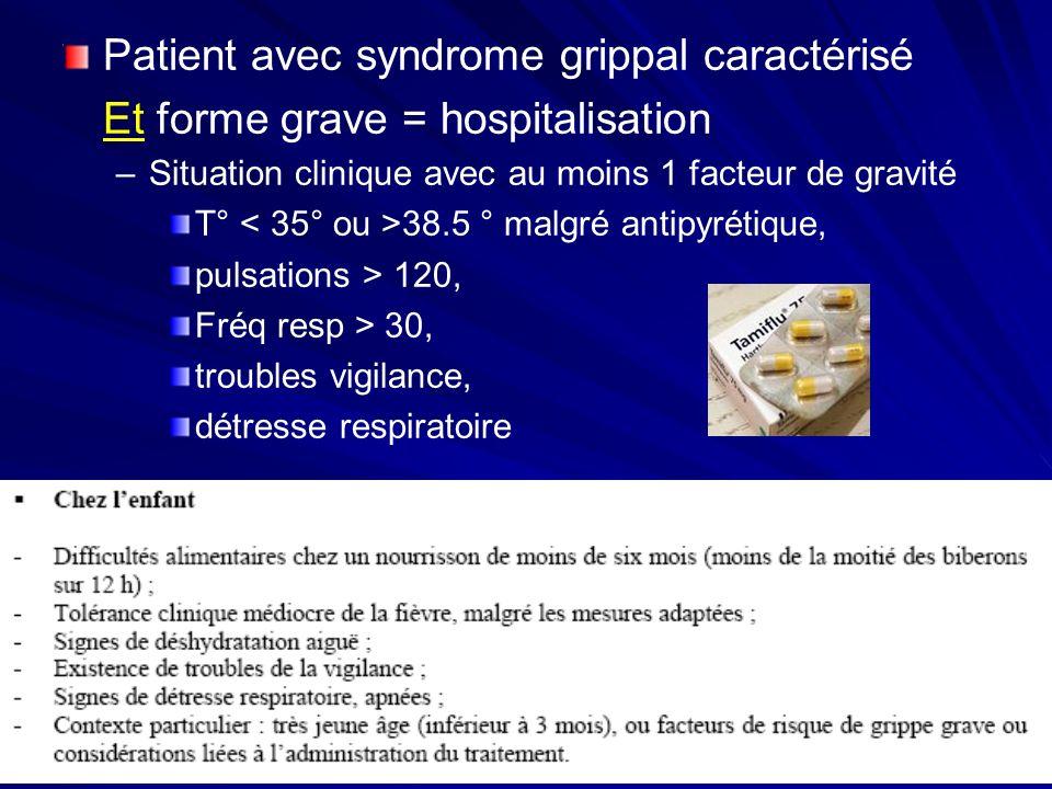 Patient avec syndrome grippal caractérisé Et forme grave = hospitalisation –Situation clinique avec au moins 1 facteur de gravité T° 38.5 ° malgré ant