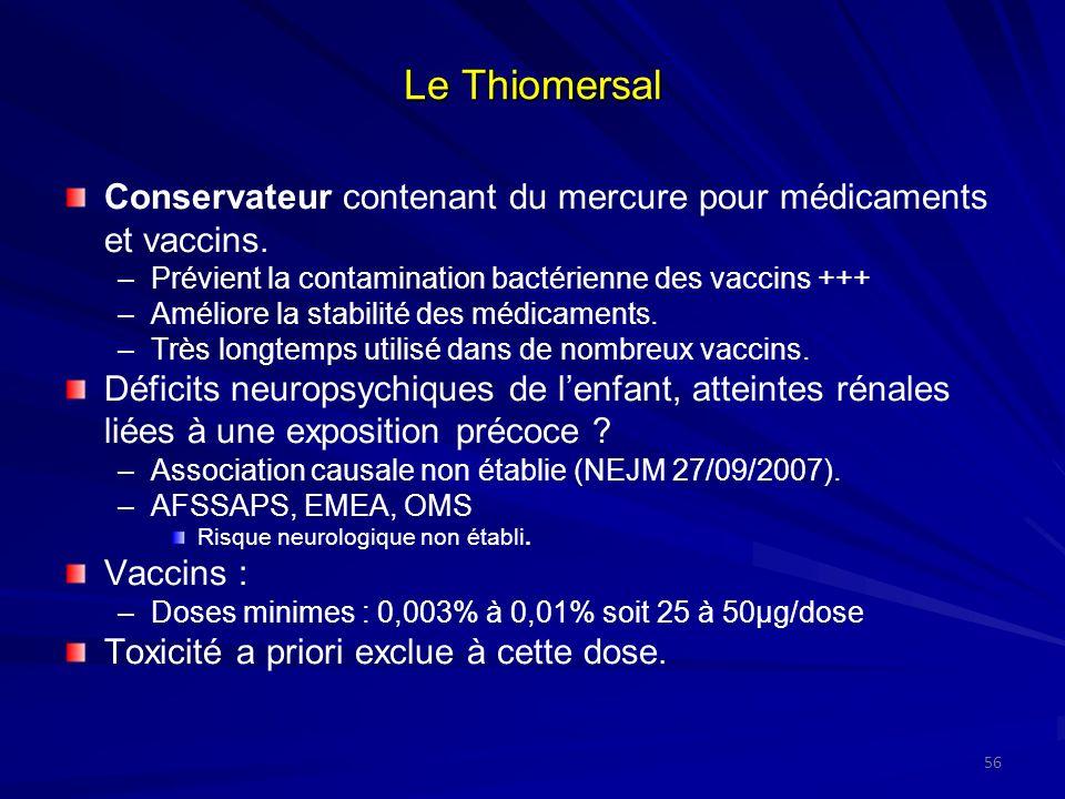 Le Thiomersal Conservateur contenant du mercure pour médicaments et vaccins. –Prévient la contamination bactérienne des vaccins +++ –Améliore la stabi