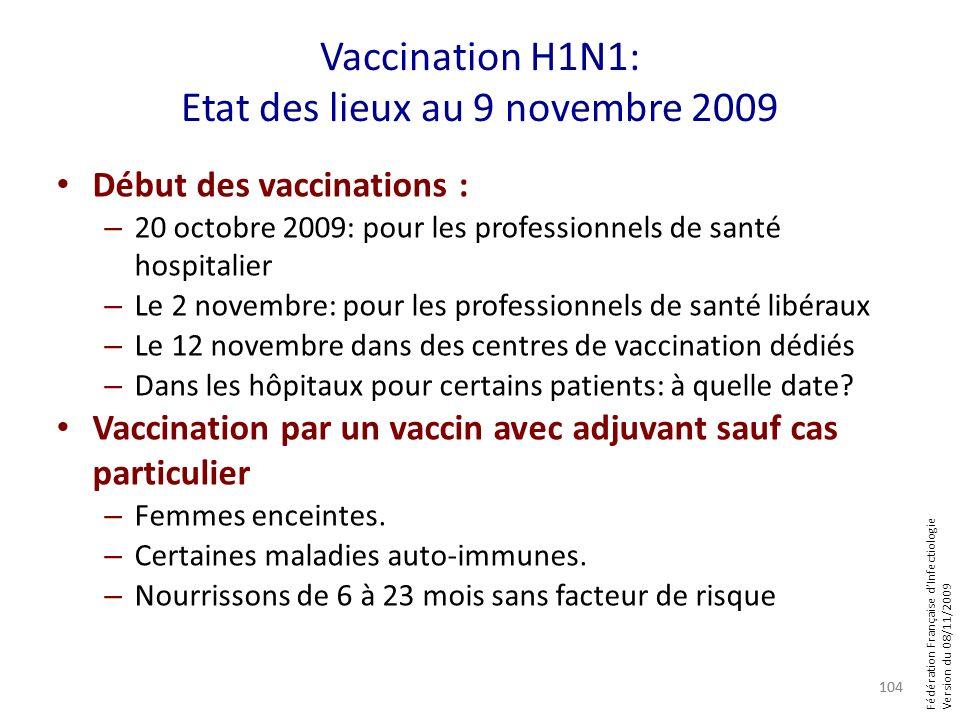 Fédération Française dInfectiologie Version du 08/11/2009 Vaccination H1N1: Etat des lieux au 9 novembre 2009 Début des vaccinations : – 20 octobre 20