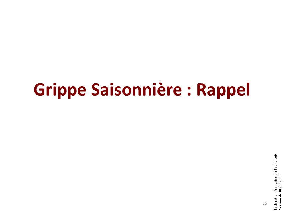 Fédération Française dInfectiologie Version du 08/11/2009 Grippe Saisonnière : Rappel 15