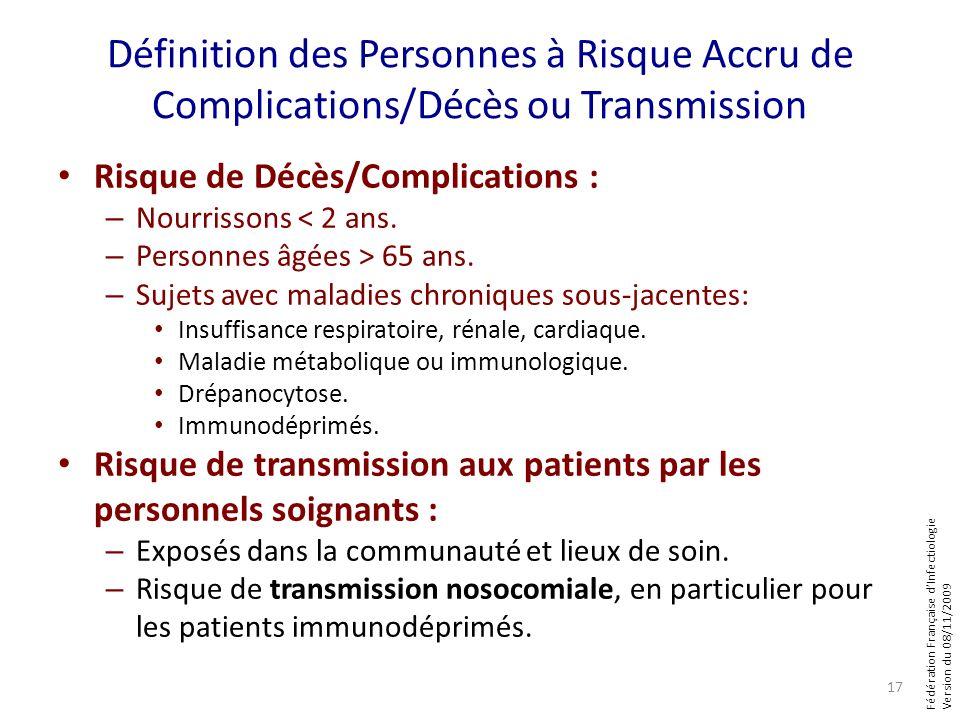 Fédération Française dInfectiologie Version du 08/11/2009 Définition des Personnes à Risque Accru de Complications/Décès ou Transmission Risque de Déc