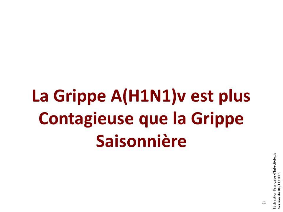 Fédération Française dInfectiologie Version du 08/11/2009 La Grippe A(H1N1)v est plus Contagieuse que la Grippe Saisonnière 21
