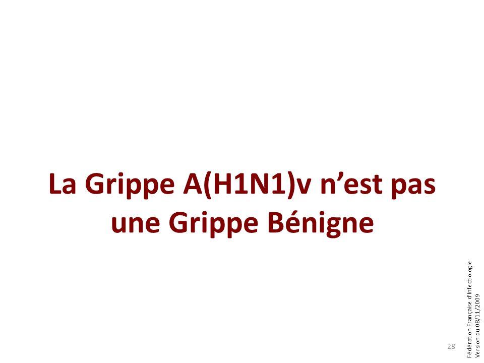 Fédération Française dInfectiologie Version du 08/11/2009 28 La Grippe A(H1N1)v nest pas une Grippe Bénigne