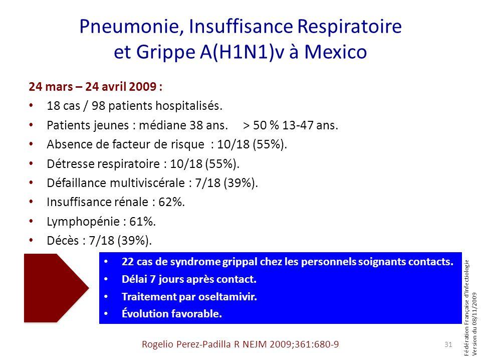 Fédération Française dInfectiologie Version du 08/11/2009 Pneumonie, Insuffisance Respiratoire et Grippe A(H1N1)v à Mexico 24 mars – 24 avril 2009 : 1