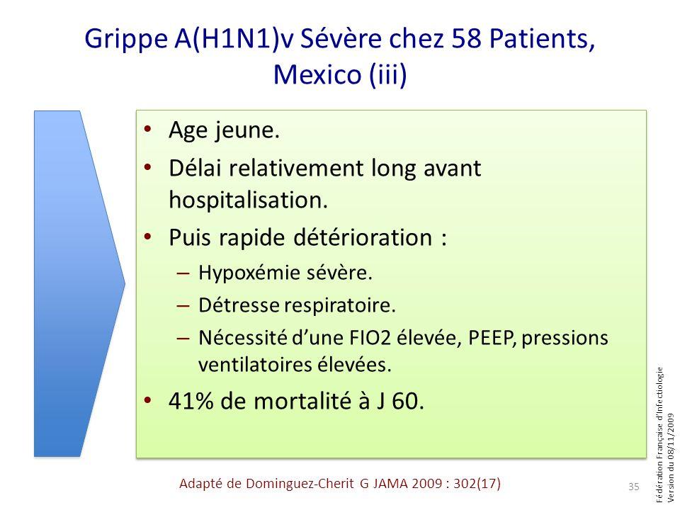 Fédération Française dInfectiologie Version du 08/11/2009 Grippe A(H1N1)v Sévère chez 58 Patients, Mexico (iii) Age jeune. Délai relativement long ava