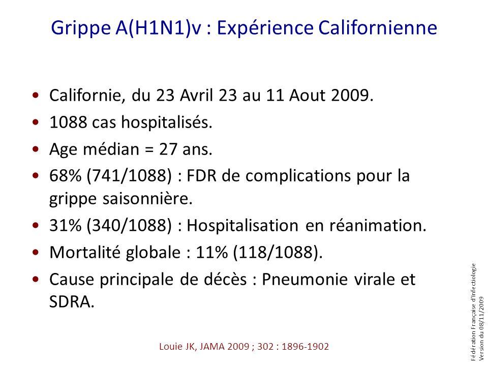 Fédération Française dInfectiologie Version du 08/11/2009 Louie JK, JAMA 2009 ; 302 : 1896-1902 Grippe A(H1N1)v : Expérience Californienne Californie,