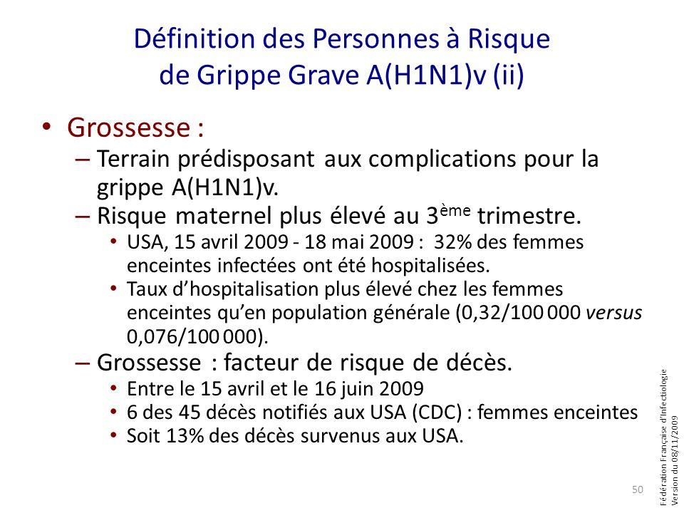 Fédération Française dInfectiologie Version du 08/11/2009 Définition des Personnes à Risque de Grippe Grave A(H1N1)v (ii) Grossesse : – Terrain prédis
