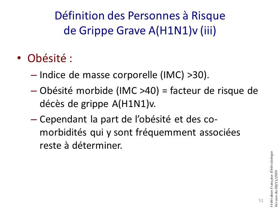 Fédération Française dInfectiologie Version du 08/11/2009 Définition des Personnes à Risque de Grippe Grave A(H1N1)v (iii) Obésité : – Indice de masse