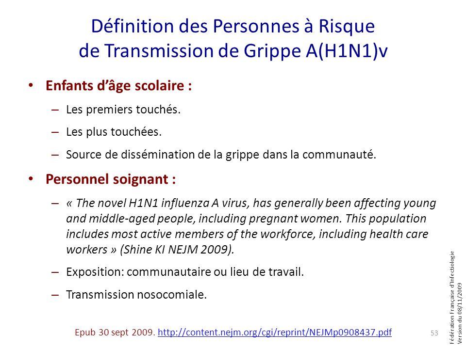 Fédération Française dInfectiologie Version du 08/11/2009 Définition des Personnes à Risque de Transmission de Grippe A(H1N1)v Enfants dâge scolaire :