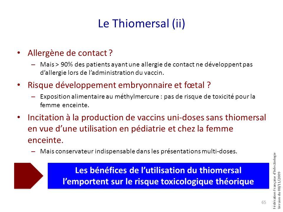 Fédération Française dInfectiologie Version du 08/11/2009 Le Thiomersal (ii) Allergène de contact ? – Mais > 90% des patients ayant une allergie de co
