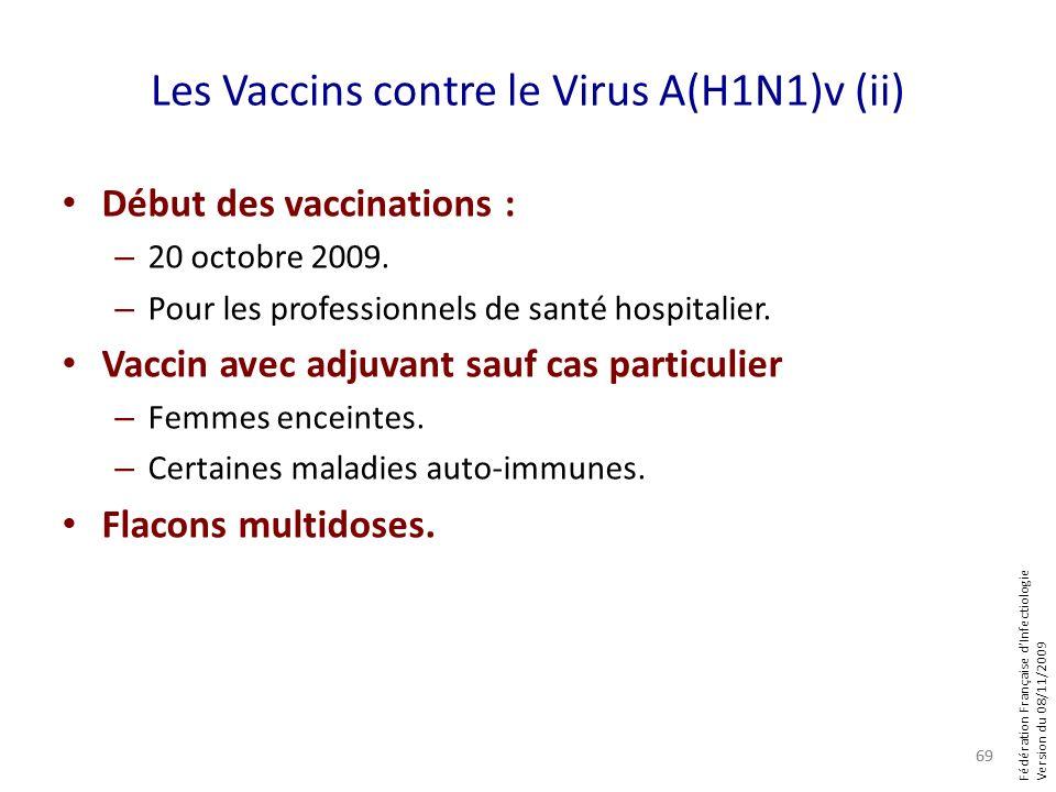 Fédération Française dInfectiologie Version du 08/11/2009 Les Vaccins contre le Virus A(H1N1)v (ii) Début des vaccinations : – 20 octobre 2009. – Pour