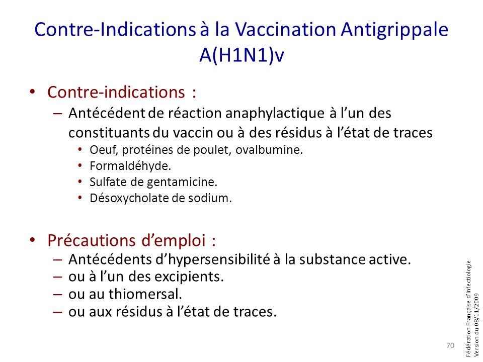 Fédération Française dInfectiologie Version du 08/11/2009 Contre-Indications à la Vaccination Antigrippale A(H1N1)v Contre-indications : – Antécédent