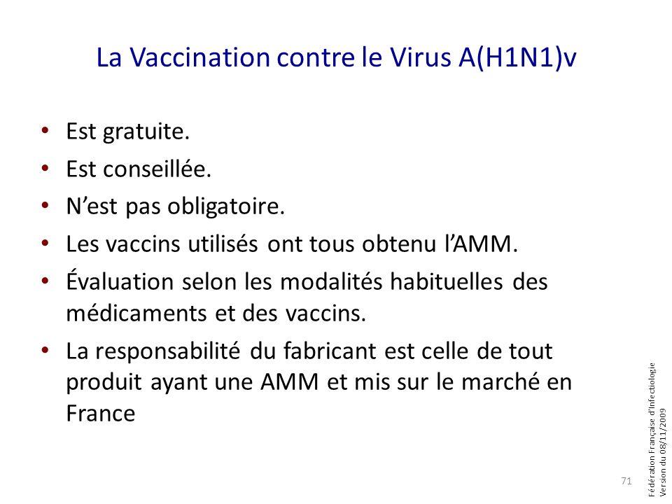 Fédération Française dInfectiologie Version du 08/11/2009 La Vaccination contre le Virus A(H1N1)v Est gratuite. Est conseillée. Nest pas obligatoire.